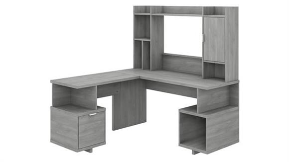 "L Shaped Desks Bush Furnishings 60""W L-Shaped Desk with Hutch"