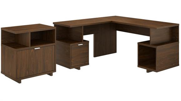 """L Shaped Desks Bush Furnishings 60""""W L-Shaped Desk with Lateral File Cabinet"""