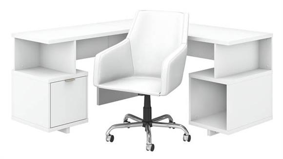 "L Shaped Desks Bush Furnishings 60""W L-Shaped Desk and Chair Set"
