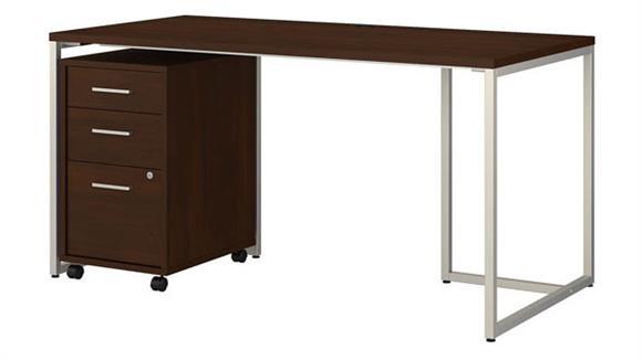 "Computer Desks Bush Furnishings 60""W Table Desk with 3 Drawer Mobile File Cabinet"