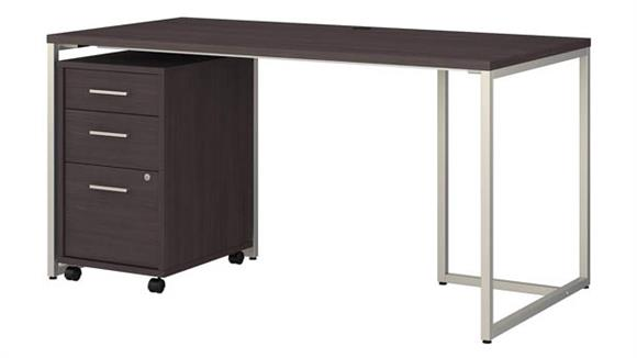 "Computer Desks Bush Furnishings 60""W Table Desk with 3 Drawer Mobile File Cabinet"