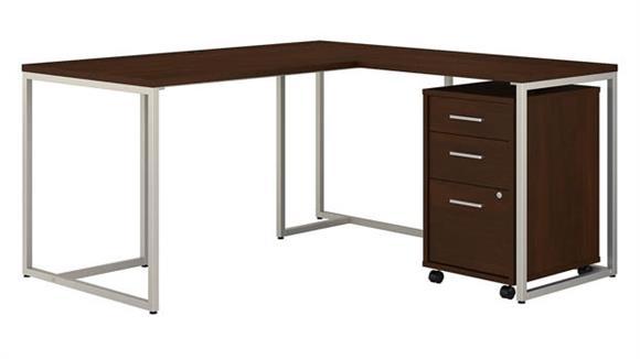 "L Shaped Desks Bush Furnishings 60""W L-Shaped Desk with 30""W Return and Mobile File Cabinet"