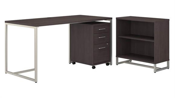 """Computer Desks Bush Furnishings 60""""W Table Desk with Bookcase and Mobile File Cabinet"""