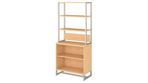 Bookcases Bush Furnishings 2 Shelf Bookcase with Hutch