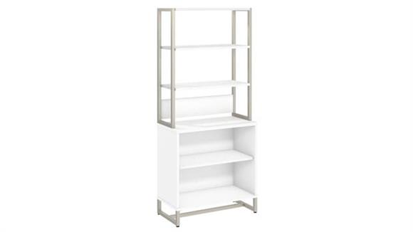 Bookcases Bush Furnishings 2 Shelf Bookcase with Hutch