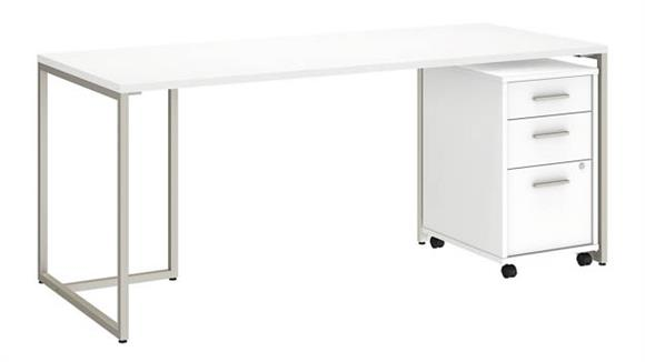 "Computer Desks Bush Furnishings 72""W Table Desk with 3 Drawer Mobile File Cabinet"