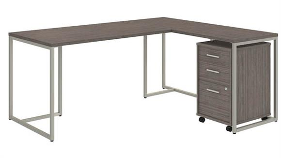 "L Shaped Desks Bush Furnishings 72""W L-Shaped Desk with 30""W Return and Mobile File Cabinet"