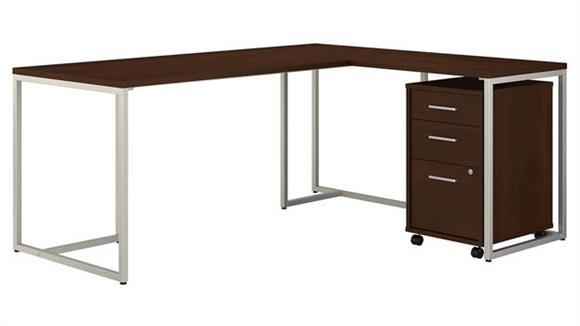 "L Shaped Desks Bush Furnishings 72""W L-Shaped Desk with 30""W Return and Mobile File Cabinet"