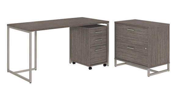 "Computer Desks Bush Furnishings 60""W Table Desk with File Cabinets"