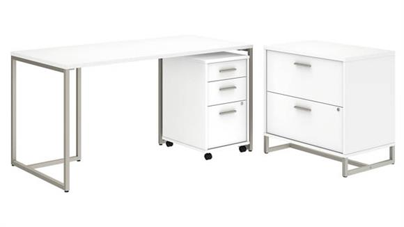 "Computer Desks Bush Furnishings 60""W Table Desk, Mobile File Cabinet and Lateral File Cabinet"