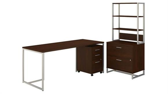 "Computer Desks Bush Furnishings 72""W Table Desk, Mobile File Cabinet and Lateral File Cabinet with Hutch"