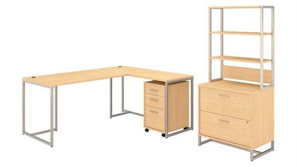 "L Shaped Desks Bush Furnishings 72""W L-Shaped Desk with 30""W Return, File Cabinets and Hutch"