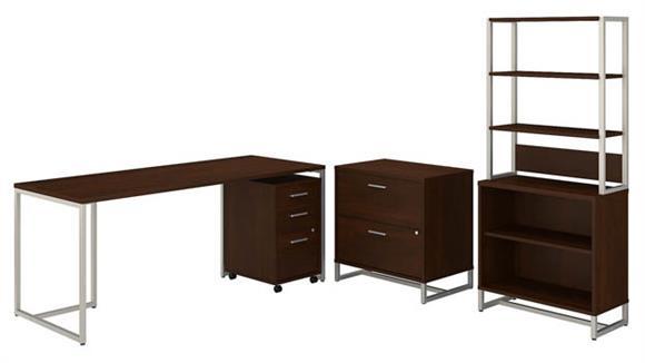 "Computer Desks Bush Furnishings 72""W Table Desk, Mobile File Cabinet, Lateral File Cabinet, Bookcase Cabinet with Hutch"