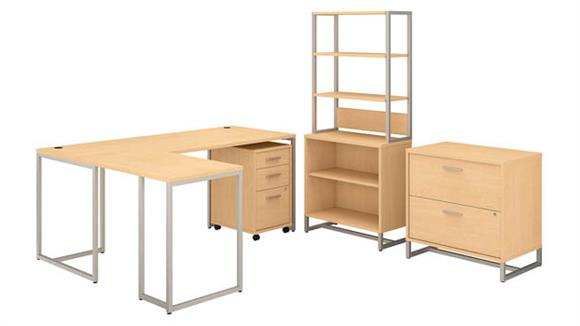 "L Shaped Desks Bush Furnishings 72""W L-Shaped Desk, Mobile File Cabinet, Lateral File Cabinet, Bookcase Cabinet with Hutch"