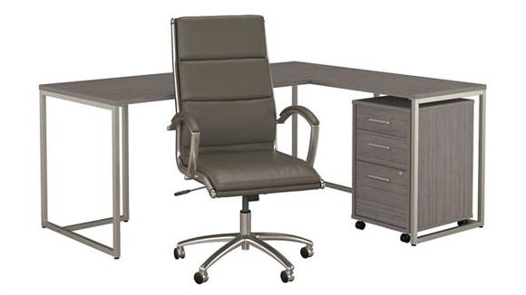 """L Shaped Desks Bush Furnishings 72""""W L-Shaped Desk with Mobile File Cabinet and High Back Office Chair"""
