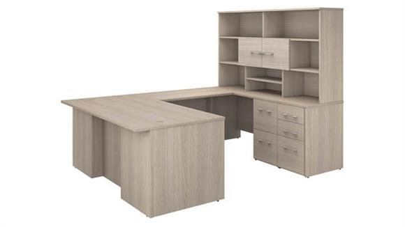 "U Shaped Desks Bush Furnishings 72""W U-Shaped Executive Desk with 3 Drawer File Cabinet - Assembled, 2 Drawer File Cabinet - Assembled, and Hutch"