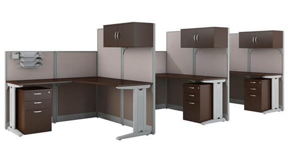 Workstations & Cubicles Bush Furnishings Set of 3 Workstations with Storage