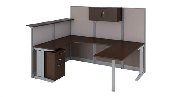 Reception Desks Bush Furnishings U-Shaped Reception Desk with Storage