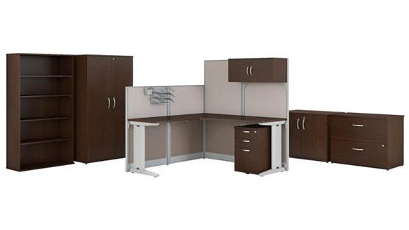 """Workstations & Cubicles Bush Furnishings 65""""W x 65""""D L-Shaped Cubicle Workstation with Storage and Filing Cabinets"""