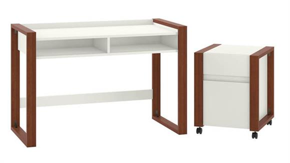 """Writing Desks Bush Furnishings 48""""W x 24""""D Writing Desk with 2 Drawer Mobile File Cabinet"""