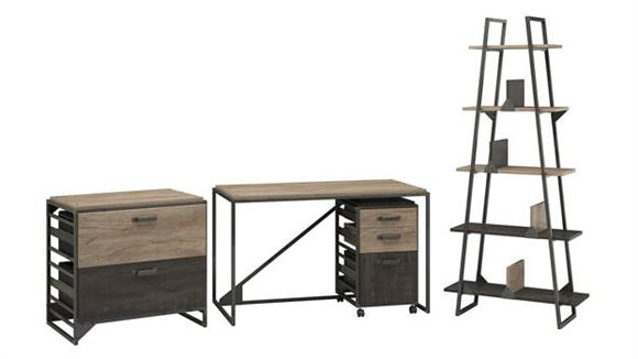 """Computer Desks Bush Furnishings 50"""" W Industrial Desk with A-Frame Bookshelf and File Cabinets"""
