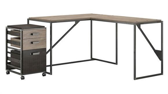 "L Shaped Desks Bush Furnishings 50"" W L-Shaped Industrial Desk with 3 Drawer Mobile File Cabinet"