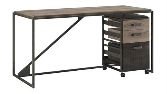 "Computer Desks Bush Furnishings 62"" W Industrial Desk with 3 Drawer Mobile File Cabinet"
