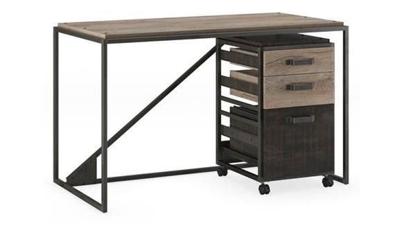 "Computer Desks Bush Furnishings 50"" W Industrial Desk with 3 Drawer Mobile File Cabinet"