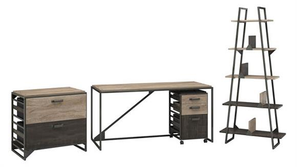 """Computer Desks Bush Furnishings 62"""" W Industrial Desk with A-Frame Bookshelf and File Cabinets"""