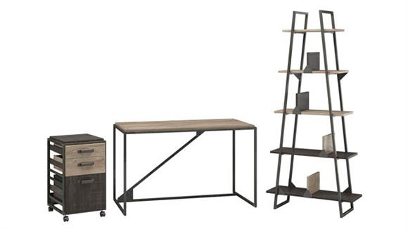 "Computer Desks Bush Furnishings 50"" W Industrial Desk with A-Frame Bookshelf and Mobile File Cabinet"
