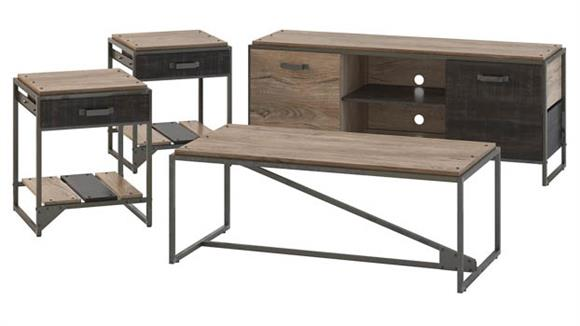 "TV Stands Bush Furnishings 60""W TV Stand with Coffee Table and Set of 2 End Tables"