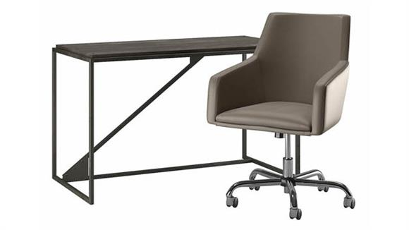 "Computer Desks Bush Furnishings 50"" W Industrial Desk and Chair Set"