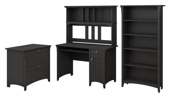 Computer Desks Bush Furnishings Mission Desk with Hutch, Lateral File Cabinet and 5 Shelf Bookcase