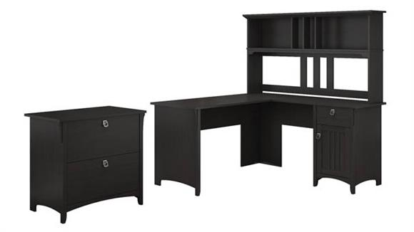 """L Shaped Desks Bush Furnishings 60""""W L Shaped Desk with Hutch and Lateral File Cabinet"""