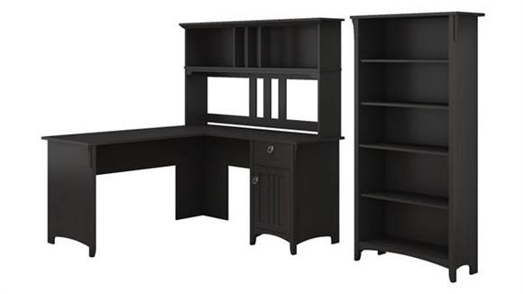 "L Shaped Desks Bush Furnishings 60""W L Shaped Desk with Hutch and 5 Shelf Bookcase"