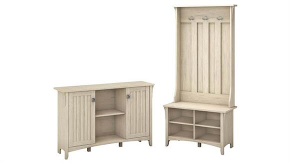 Storage Cabinets Bush Furnishings Entryway Storage Set with Hall Tree, Shoe Bench and Accent Cabinet