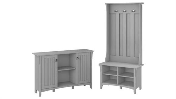 Storage Cabinets Bush Furnishings Entryway Storage Set with Hall Tree / Shoe Bench and Accent Cabinet