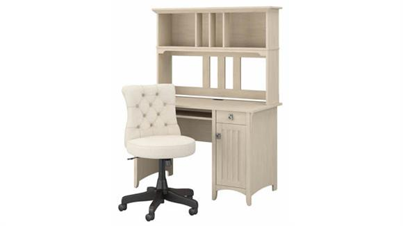 """Computer Desks Bush Furnishings 48"""" W Computer Desk with Hutch and Mid Back Tufted Office Chair"""