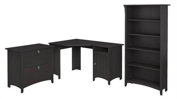 "Corner Desks Bush Furnishings 55""W Corner Desk with Lateral File Cabinet and 5 Shelf Bookcase"