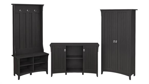 Storage Cabinets Bush Furnishings Entryway Storage Set with Hall Tree/Shoe Bench and Accent Cabinets