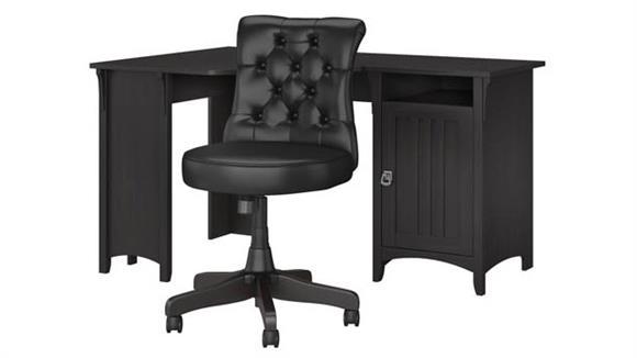 "Corner Desks Bush Furnishings 55""W Corner Desk with Mid Back Tufted Office Chair"