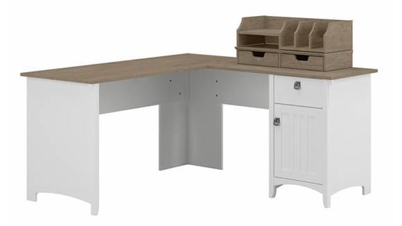 "L Shaped Desks Bush Furnishings 60""W L-Shaped Desk with Storage and Organizers"