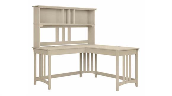 "L Shaped Desks Bush Furnishings 60""W L-Shaped Writing Desk with Hutch"