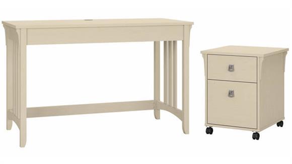 "Writing Desks Bush Furnishings 48""W Writing Desk with 2 Drawer Mobile File Cabinet"