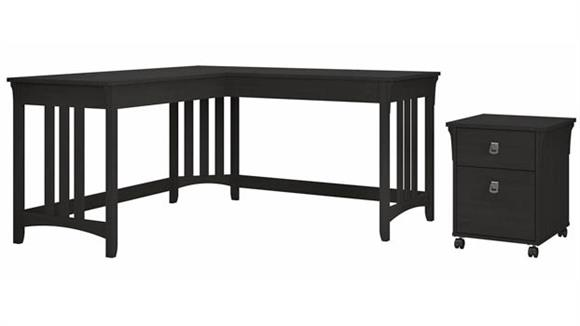 "L Shaped Desks Bush Furnishings 60""W L-Shaped Writing Desk with Mobile File Cabinet"