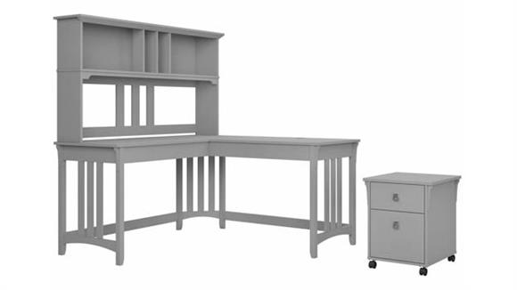 """L Shaped Desks Bush Furnishings 60""""W L-Shaped Writing Desk with Hutch and Mobile File Cabinet"""