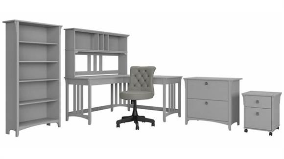 """L Shaped Desks Bush Furnishings 60""""W L-Shaped Desk and Chair Set with Hutch, Mobile and Lateral File Cabinets and Bookcase"""