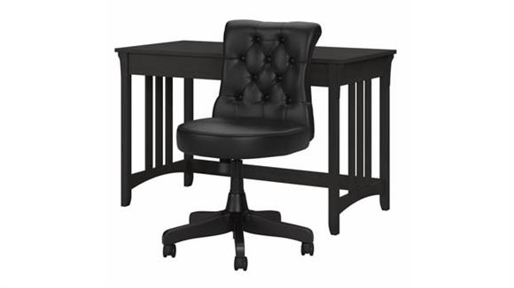 """Writing Desks Bush Furnishings 48""""W Writing Desk with Mid Back Tufted Office Chair"""