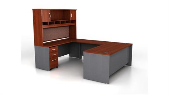 U Shaped Desks Bush Furnishings U Shaped Desk with Hutch