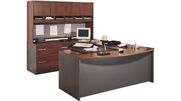 U Shaped Desks Bush Furnishings Bow Front U Shaped Desk with Hutch